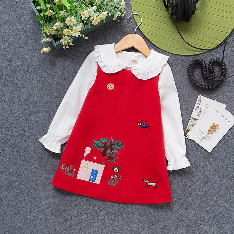 女童装秋冬新款儿童纯棉加绒衬衣春秋娃娃领荷叶边白色长袖衬衫厚