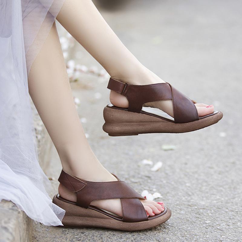 夏季新款手工真皮松糕跟女鞋头层牛皮坡跟厚底罗马风格露趾凉鞋