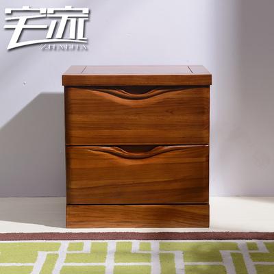 宅家全柚木床头柜简约现代实木床头柜中式床边柜储物柜卧室收纳柜