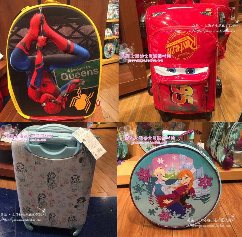 上海迪士尼国内代购冰雪奇缘艾莎安娜蜘蛛侠麦昆公主儿童行李箱手