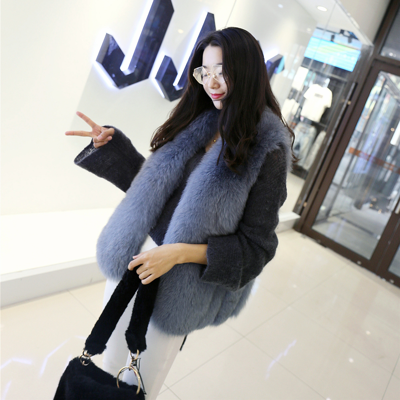 2018 autumn and winter new fox fur grass vest female long section fashion was thin imitation