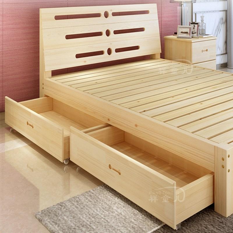 床架子现代简约床主卧矮床双人1.5榻榻米1.8米实木2米2.2米加宽1