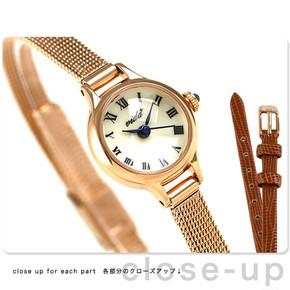 日本代购VIDA+女款袖珍精致小表盘网状钢带石英手表送皮表带