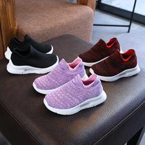 新款儿童网鞋韩版男童低帮针织弹力袜子鞋秋季女童透气休闲账动鞋
