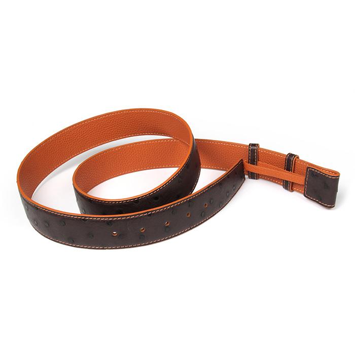 真皮腰带定制 活动按扣版 聚变原创纯手工皮具深棕色鸵鸟皮皮带