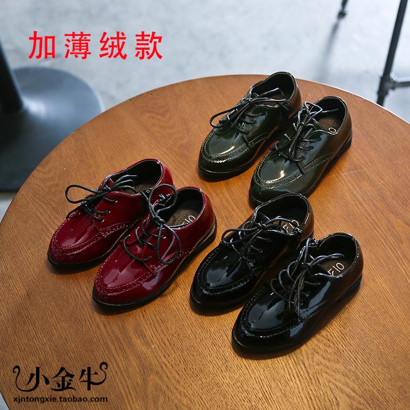 男童皮鞋2017秋冬款英伦风3亮皮5影楼拍照7韩版4-9岁儿童摄影鞋12