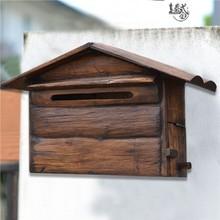 实木房子信报箱别墅室外防水木质复古信箱超市挂墙意见箱投诉箱子