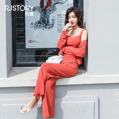 早秋装女2019新款时尚套装休闲韩版针织气质上衣配长裤宽松三件套