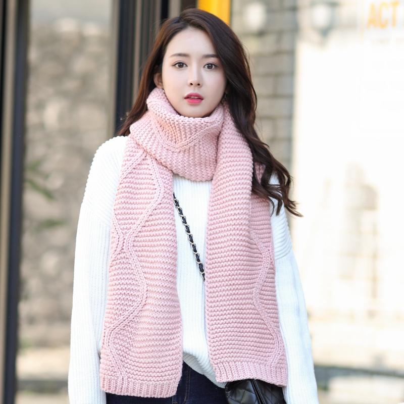 毛线围巾粉色