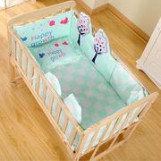 实木婴儿床环保无漆 宝宝床童床新生儿摇篮床 可推可变书桌可侧翻