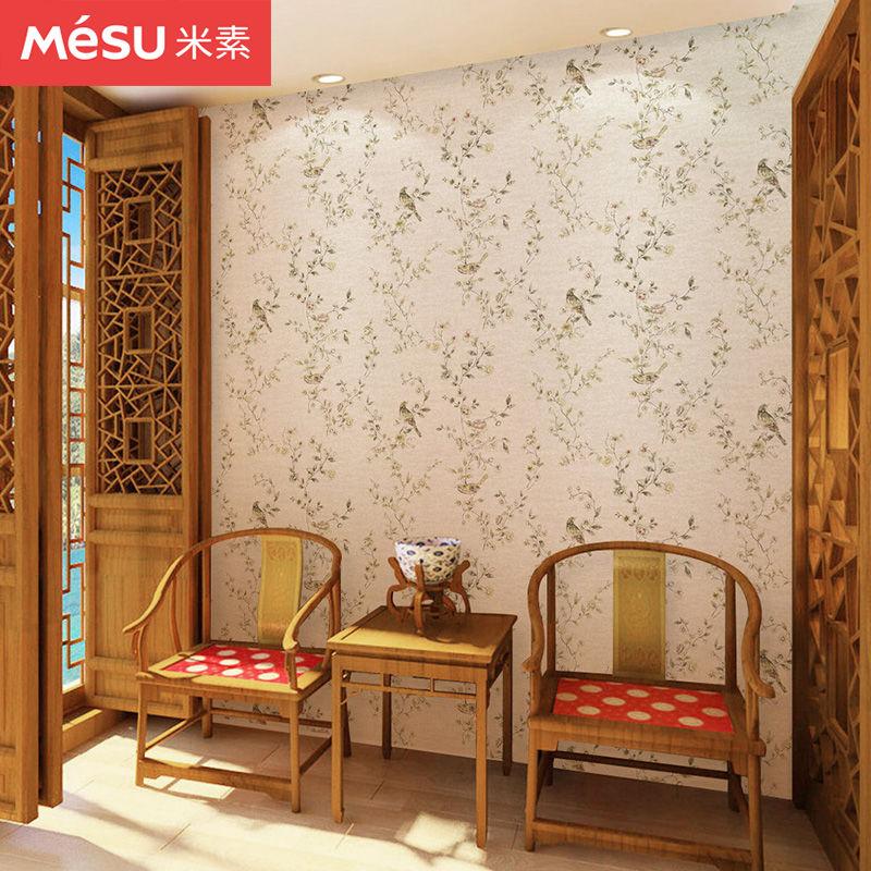 米素现代中式墙纸田园卧室无纺布墙纸3d立体影视墙壁纸客厅 报春