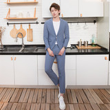 CSOCSO summer light color casual suit suit male Han Feng Slim small suit smog blue dress suit tide