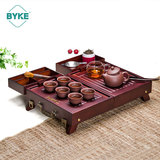 Bamboo portable purple sand qinghua porcelain tourism outdoor car travel tea set package kung fu with tea plate set