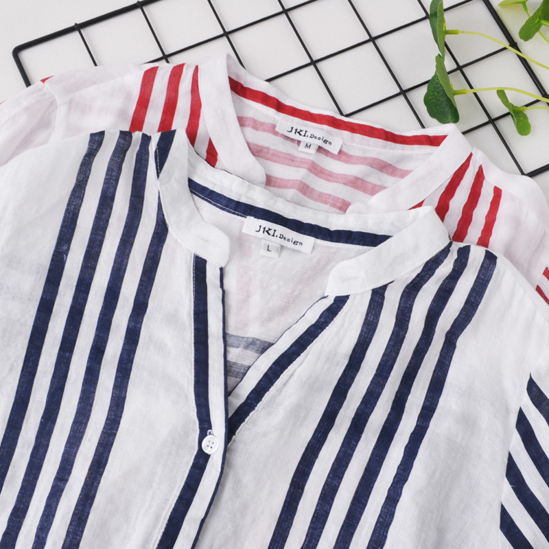 irregular V-neck thin vertical stripes sleeves sleeve shirt early autumn literary cotton and linen wide