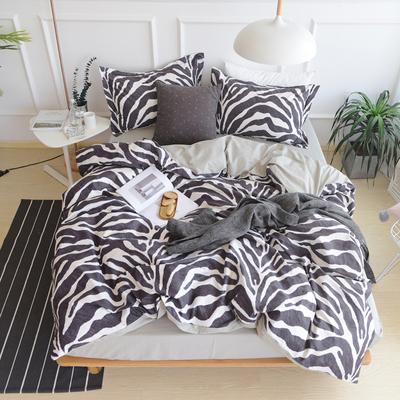 ins北欧简约清新床上床单床笠纯棉四件套全棉豹纹被套斑马纹套件是什么牌子