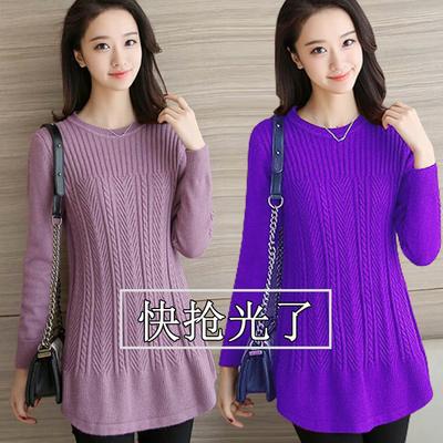 秋冬季中长款羊绒衫女装圆领宽松大码羊毛针织毛衣女加厚打底衫