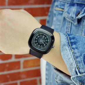 正品方形男士手表时尚潮流大表盘石英手表男真皮带防水非机械男表
