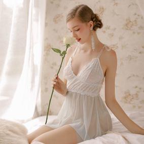 管阿姨十点半A-033人鱼眼泪性感透明网纱睡衣女水蓝色不规则睡裙