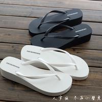 夏季新款坡跟人字拖女厚底松糕凉拖鞋防滑沙滩拖鞋黑色时尚夹脚拖