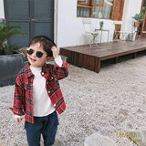 Le Lejia boys and girls plaid shirt long-sleeved shirt baby autumn clothes British children's casual jacket
