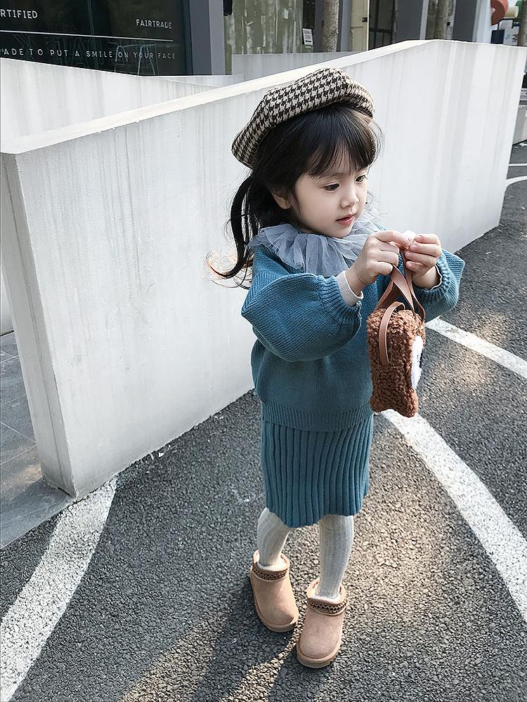 leobaby女童毛衣2018新款连衣裙宝宝针织衫儿童冬装女套装两件套