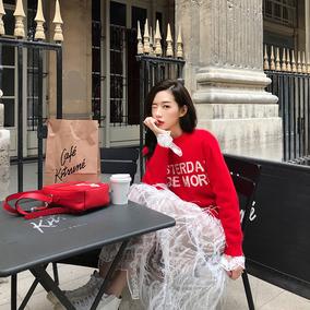 「卢洁云」CARIEDO2018冬新款韩版字母提花毛衣chic圆领套头上衣