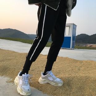 韩版秋冬显瘦白边两条杠宽松休闲毛呢子哈伦裤女收口小脚运动长裤