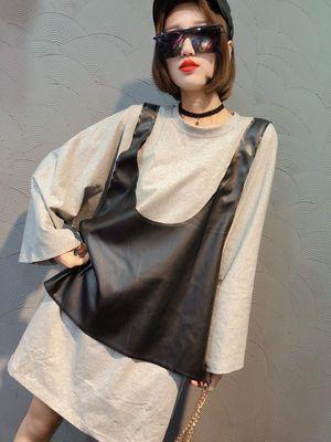 少女风欧洲站2018秋季新款PU马甲装饰宽松净版t恤衫大两件套女潮