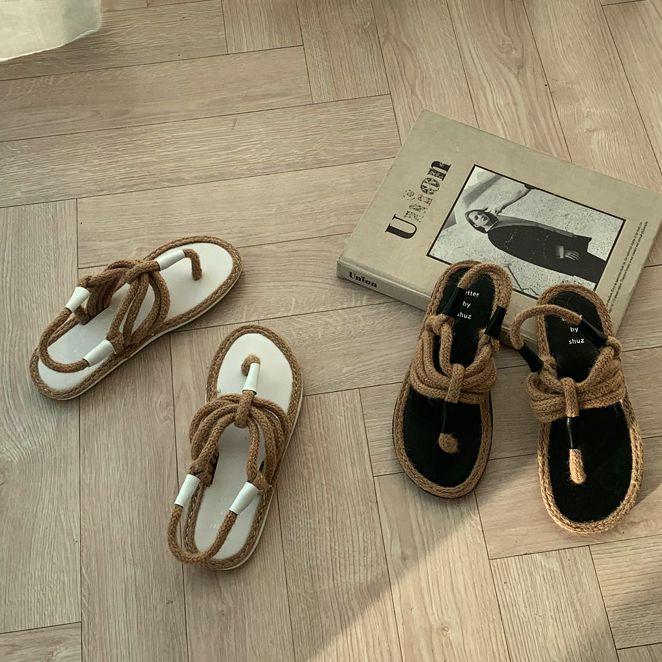 韩国Naning9官网正品代购 夏季个性时尚夹趾草编平底鞋凉鞋