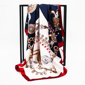 韩禾夏季礼物柔滑欧美风缎面大方巾披肩女印花丝巾围巾头巾90x90
