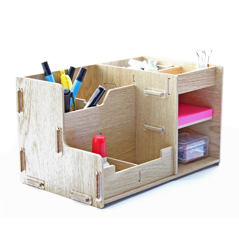 得力多功能收纳盒木质手工组装笔筒名片盒一体收纳财务办公商务学生用品8格组合包邮