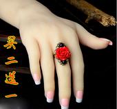 学生饰品食指民族风指环 中国风复古朱砂花戒指森女系日韩潮人个性