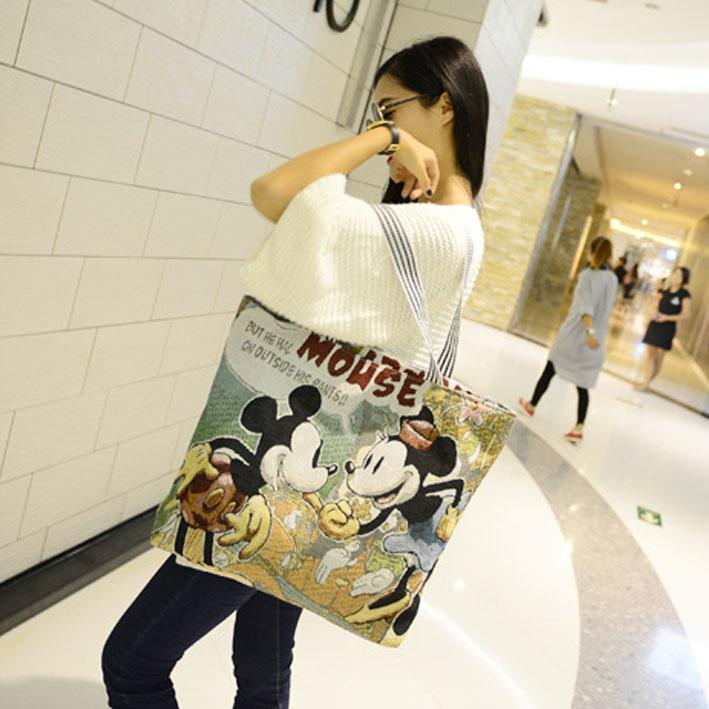 卡通女包购物袋帆布单肩包斜跨包 时尚 天天特价 女款 绣花单韩版