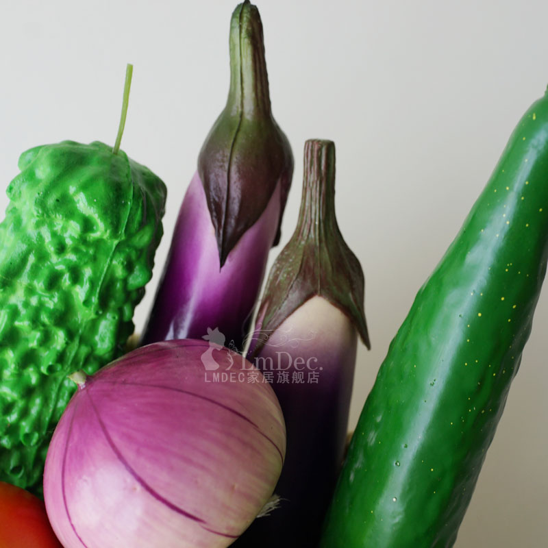 仿真蔬菜水果带果篮套装 lmdec仿真茄子西红柿洋葱装饰品餐桌摆设