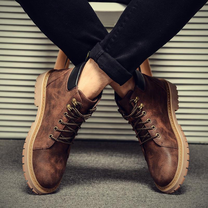 加毛马丁靴男
