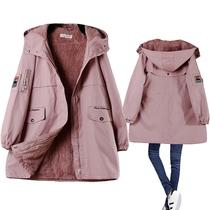 冬季新款韩版bf棉衣女中长款加绒加厚大码宽松连帽棉服外套显瘦
