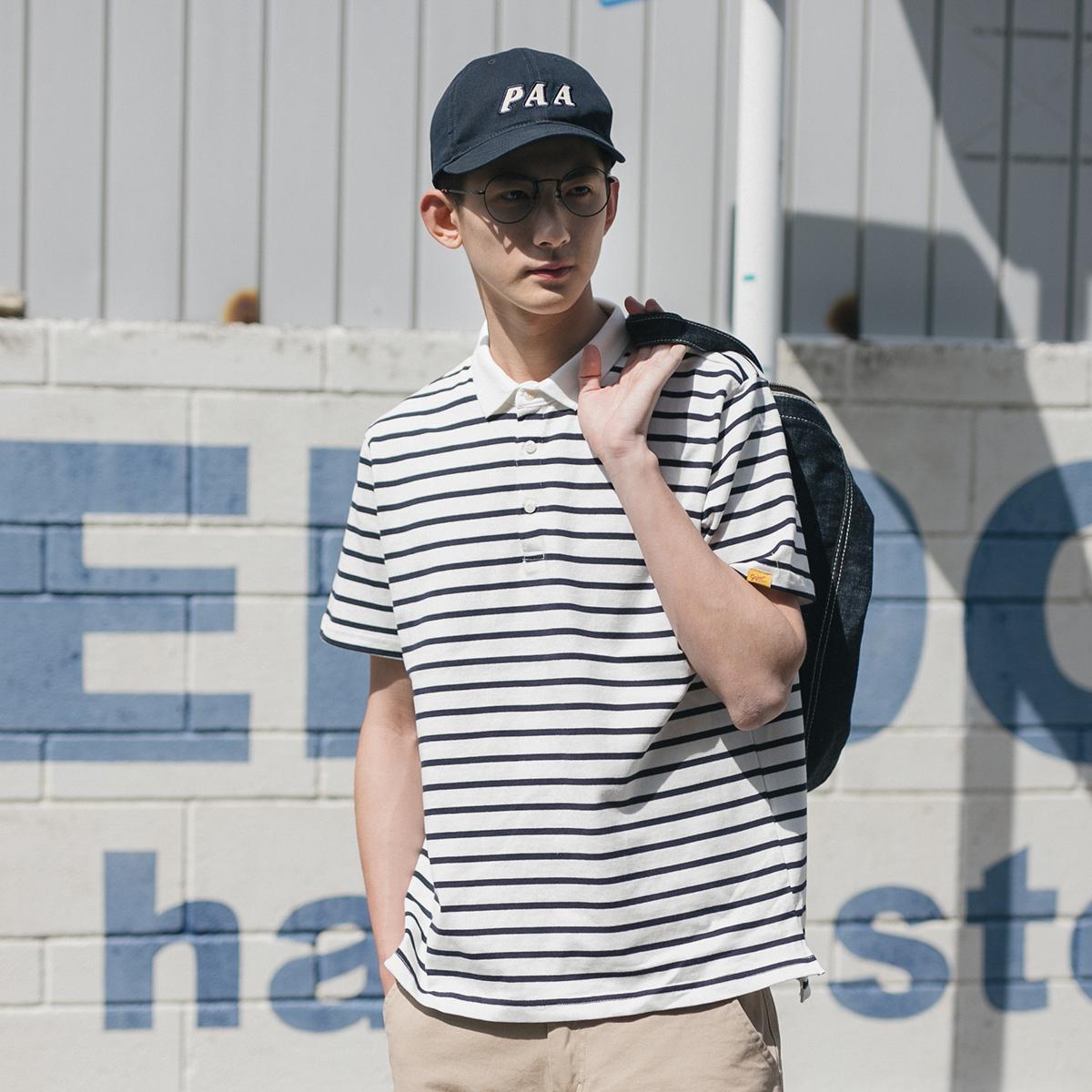 GBOY夏季日系清新文艺条纹翻领POLO衫男青年潮流宽松水洗短袖T恤