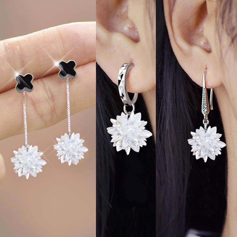 韩国S925纯银耳钉女款唯美水晶冰花锆石气质耳环防过敏耳坠饰品