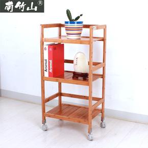 楠竹放置架搁物架落地层架实木置物架卧室多功能收纳架带滑轮架子