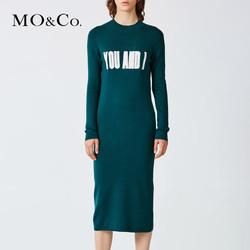 MOCO冬裙连衣裙厚女圆领字母显瘦毛裙子修身MA154JEY64