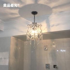 美式小水晶吊灯衣帽间玄关复古创意灯具北欧简约过道卧室水晶吊灯