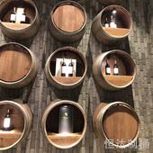酒桶木桶橡木桶装饰半桶挂墙酒庄摆件陈列木制圆形木桶木酒桶