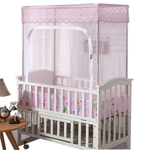Customized baby bed mosquito net cover, baby bed mosquito net with support Princess BB bed mosquito net encrypted open door general purpose for children