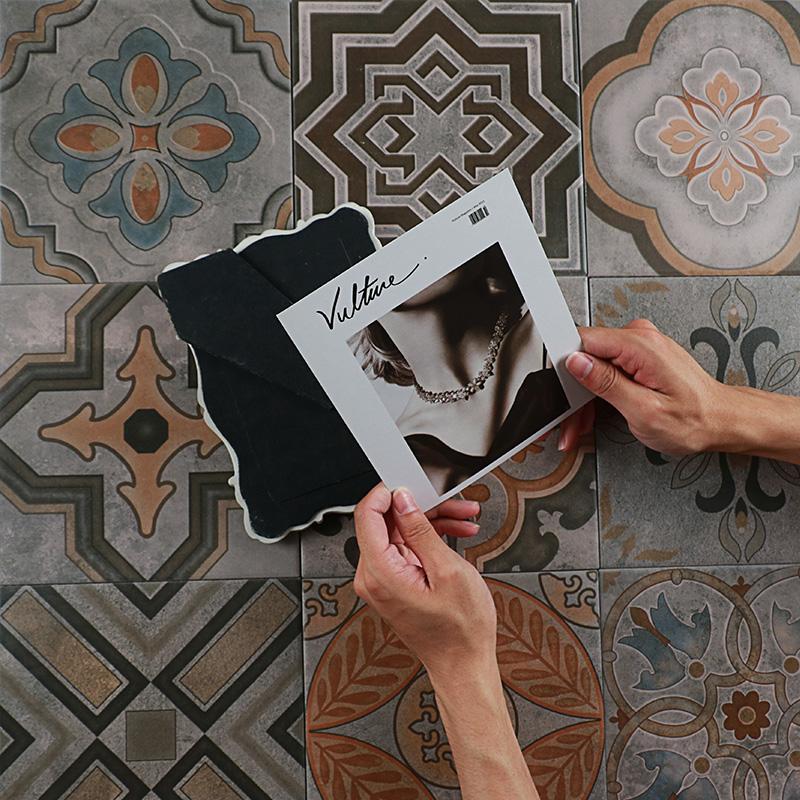复古水泥砖 北欧小花砖瓷砖卫生间墙砖 厨房防滑地砖 客厅花片200