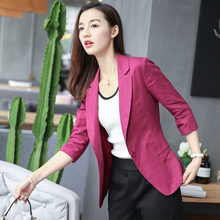 Spring 2019 New Short Cotton and Hemp Small Suit Women's Korean Edition Slim Seven-Sleeve Flax Small Suit Coat