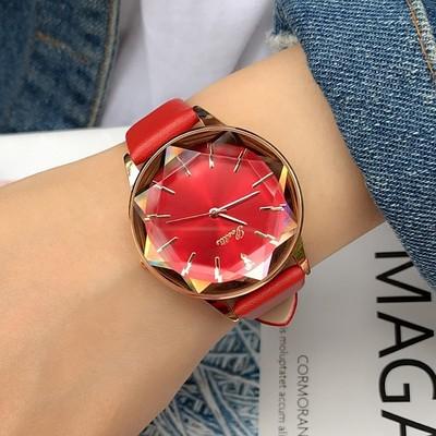 新款詩高迪耐用菱形玻璃玫瑰金女士紫色個性時尚真皮表帶女款手表評測