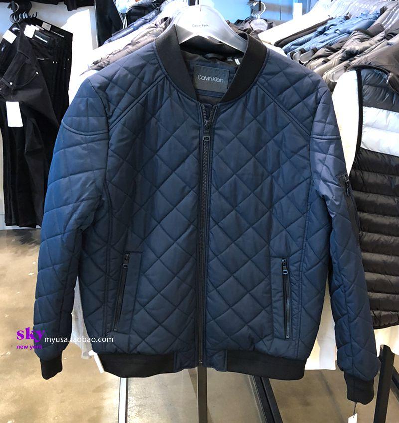 美国正品CalvinKlein男士款CK冬季菱形格棒球防水夹克棉服外套