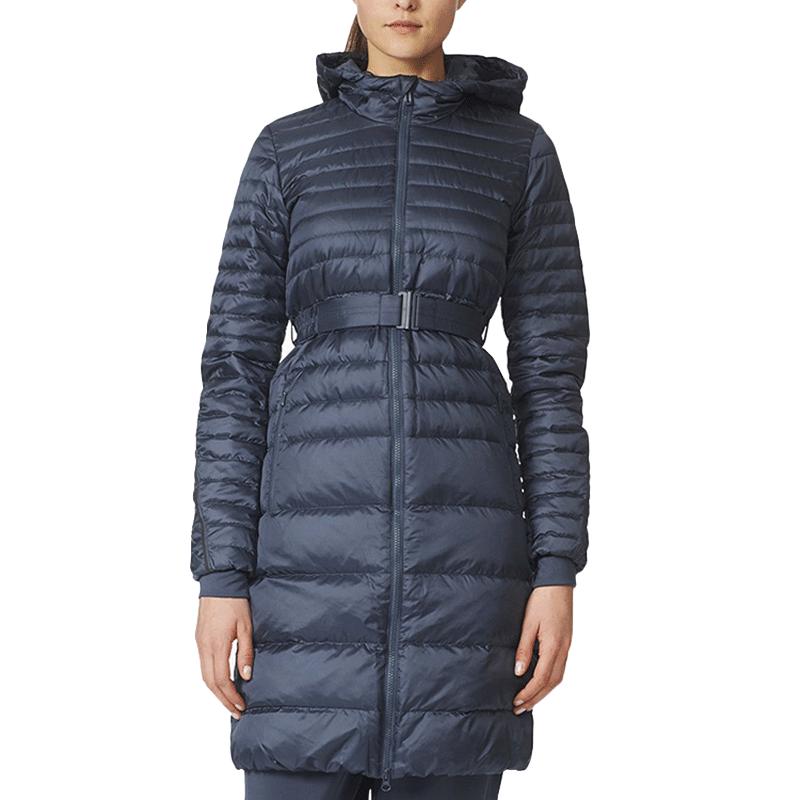 阿迪达斯羽绒服女18春季新款休闲运动保暖连帽长款大衣外套AP8694