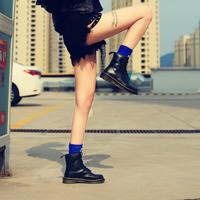 真皮马丁靴女短靴春夏季高帮英伦风复古机车单靴学生韩版百搭女靴