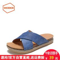 鞋柜女鞋2018夏季新款专柜正品特价清仓中跟套脚纯色中跟平底凉鞋
